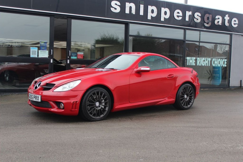 USED 2005 05 MERCEDES-BENZ SLK 5.4 SLK55 AMG 2d 356 BHP Fire Opal Red, Same Owner Since 2008, Satallite Navigation, Airscarf, Heated Seats, Parktronic - Front and Rear Parking Sensors, Wind Deflector, CD Changer, Comand DVD With Navigation, AMG Styling Package, Rain Sensor, Electric Folding Mirrors, Bi-Xenon Headlights,  Auto Headlights, 2 Keys and Book Pack, Full Service History and Receipt File.