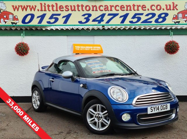 USED 2014 14 MINI COUPE 1.6 COOPER 2d 120 BHP 33,000 MILES, SERVICE HISTORY, FINANCE AVAILABLE