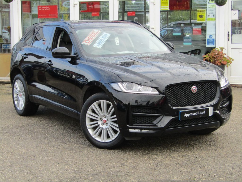 """USED 2017 67 JAGUAR F-PACE 2.0 R-SPORT AWD 5d 178 BHP Finished in EBONY NARVIK BLACK with FULL LEATHER TRIM. The Jaguar F-Pace is a large, stylish family car and one of the few SUVs on sale that is genuinely good fun to drive. It has a host of features that include Black Pack, 20"""" Alloys, Sat Nav, Heated Leather, DAB Radio, Power rear Boot and much more. Marshall Jaguar Peterborough Dealer Serviced at 22511 miles, 47212 miles and on arrival serviced at 68232 miles and 12 months MOT by EMC."""