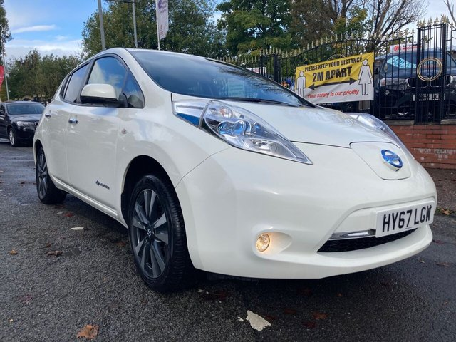 "USED 2017 67 NISSAN LEAF 0.0 TEKNA 5d 109 BHP 2 KEYS+ 0 TAX+LEATHER TRIM+USB+MOT TILL SEPTEMBER 2021+17""ALLOYS+NAVIGATION SYSTEM WITH SD CARD+PRIVACY GLASS+CLIMATE CONTROL+CAMERA+BLUETOOTH+MEDIA+DAB+AUX+"
