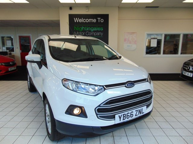 "USED 2017 66 FORD ECOSPORT 1.5 ZETEC 5d 110 BHP THIS ALWAYS POPULAR FORD ECOSPORT 1.5 R  5 DOOR COMES WITH FULL SERVICE HISTORY + BLUETOOTH + DAB RADIO + QUICK CLEAR WINDSCREEN + AIR CONDITIONING + HEIGHT ADJUSTABLE DRIVERS SEAT + RADIO/CD/USB + ELECTRIC WINDOWS + CENTRAL LOCKING + ABS + THATCHAM ALARM + PRIVACY GLASS + FRONT FOG LIGHTS + DAYTIME RUNNING LIGHTS +16"" ALLOY WHEELS + ELECTRIC DOOR MIRRORS + REMOTE AUDIO CONTROLS +"