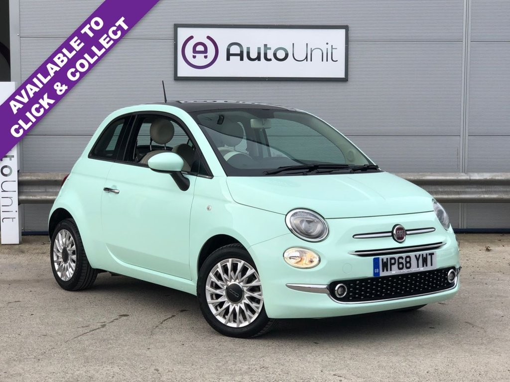 USED 2018 68 FIAT 500 1.2 LOUNGE 3d 69 BHP REAR PARKING SENSORS + BLUETOOTH CONNECTIVITY + PANORAMIC ROOF + AUX/USB