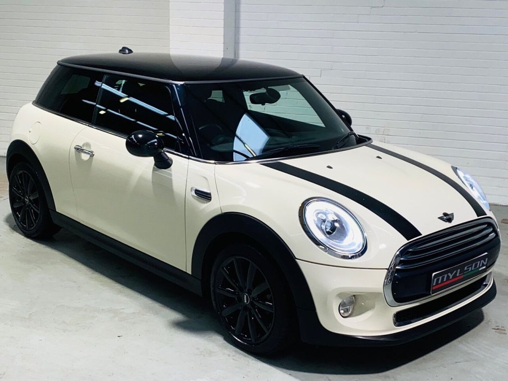 USED 2016 66 MINI HATCH COOPER 1.5 COOPER D 3d 114 BHP Pepper White with Black Leather/Chequer Interior, Chili Pack, Gloss Black Wheels, Visual Boost, Privacy Glass