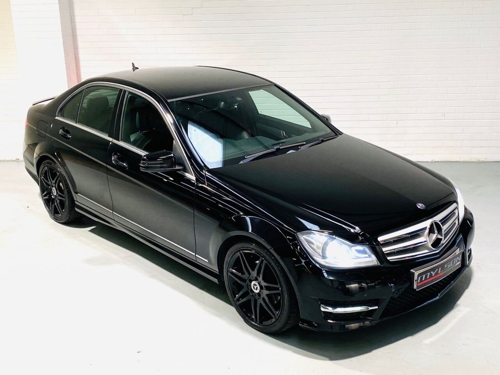 USED 2013 13 MERCEDES-BENZ C-CLASS 2.1 C250 CDI BLUEEFFICIENCY AMG SPORT PLUS 4d 202 BHP C250 AMG Sport Plus Model, Black Leather with Red Stitching + Seatbelts, COMAND Media