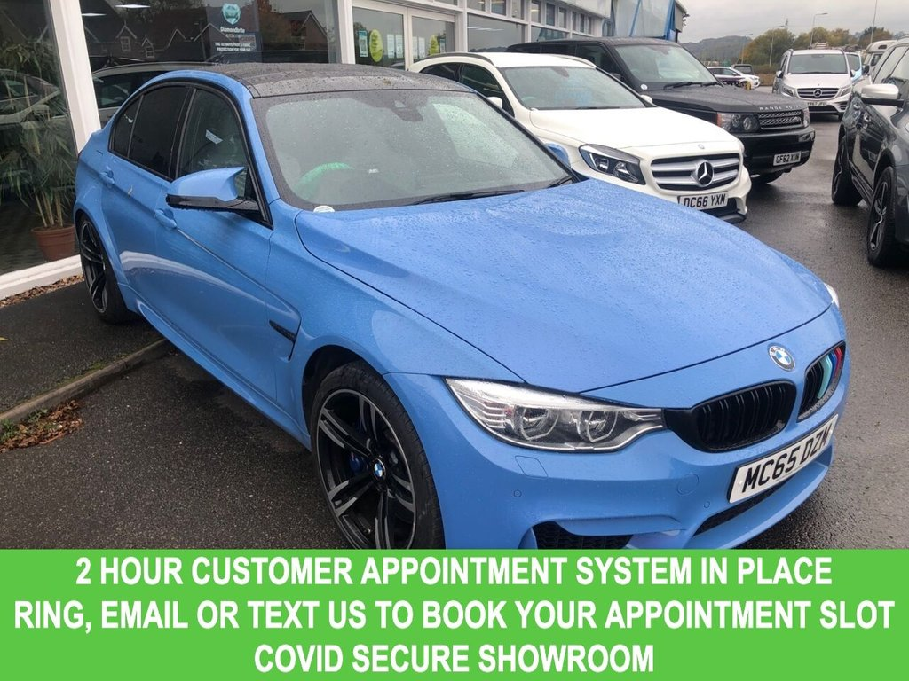 USED 2015 65 BMW M3 3.0 M3 4d Petrol DCT AUTO Sports Saloon Absolutely Stunning in Marina Blue with 19 M Double Spoke Black Alloys a Massive 426 BHP Performance and the Highest Specification in the UK with Head Up Display Silverstone Extended Merino Leather Carbon Fibre Interior Trim BMW Icon Adaptive LED Headlights High Beam Assist Ft and Rr Heated Seats  Mesmerising AUTO Sports Saloon Absolutely Stunning in Marina Blue