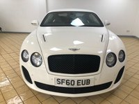 USED 2010 60 BENTLEY CONTINENTAL SUPERSPORTS GT 6.0 W12 SUPERSPORTS 2d AUTO 4 Seats with 621 BHP Performance �£170k New Absolutely Stunning in Extreme Contrast White Colour with Black Alloys Comfort Seat Option Power Opening & Closing Boot Lots of Bentley Services Very Rare Colour and Extremely Low Mileage.Recent Service plus MOT Fuel Tank is Full to the Brim and now Ready to Drive Away Today The ultimate statement of power, luxury and automotive beauty.