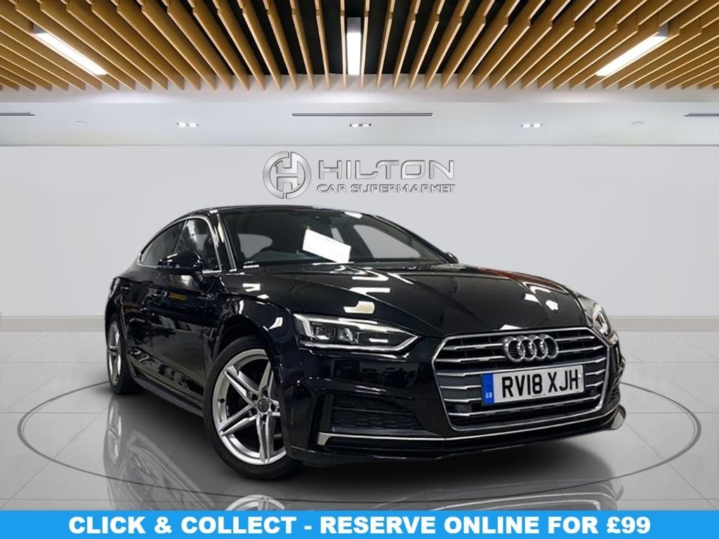 """USED 2018 18 AUDI A5 2.0 SPORTBACK TFSI S LINE 5d 188 BHP Navigation System, Half-Leather Seats,18"""" Alloy Wheels, Parking Sensor(s), Climate Control, Privacy Glass"""