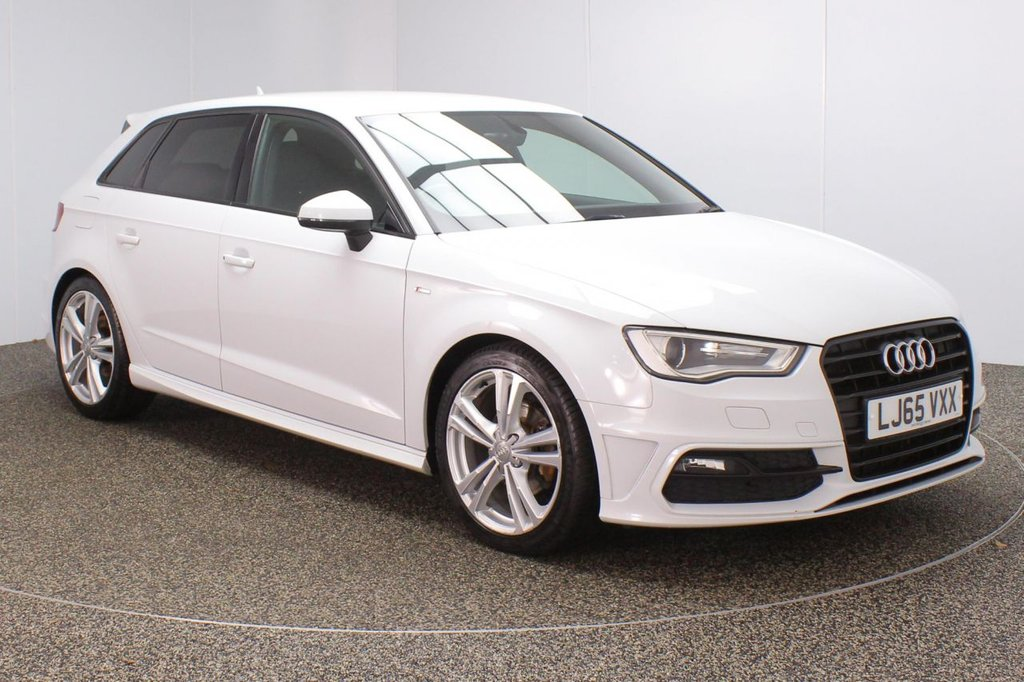 USED 2015 65 AUDI A3 2.0 TDI S LINE 5DR 1 OWNER 148 BHP FULL AUDI SERVICE HISTORY + £20 12 MONTHS ROAD TAX + HALF LEATHER SEATS + BLUETOOTH + CLIMATE CONTROL + MULTI FUNCTION WHEEL + DAB RADIO + XENON HEADLIGHTS + PRIVACY GLASS + ELECTRIC WINDOWS + ELECTRIC/HEATED DOOR MIRRORS + 18 INCH ALLOY WHEELS