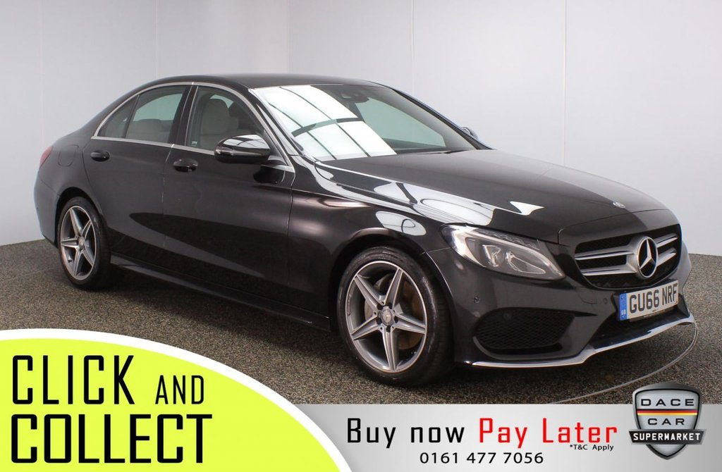 USED 2016 66 MERCEDES-BENZ C-CLASS 2.1 C220 D AMG LINE 4DR 1 OWNER 170 BHP FULL SERVICE HISTORY + £20 12 MONTHS ROAD TAX + HEATED LEATHER SEATS + SATELLITE NAVIGATION + REVERSING CAMERA + PARKING SENSOR + BLUETOOTH + CRUISE CONTROL + CLIMATE CONTROL + MULTI FUNCTION WHEEL + LED HEADLIGHTS + PART ELECTRIC FRONT SEATS + DAB RADIO + ELECTRIC WINDOWS + ELECTRIC/HEATED/FOLDING DOOR MIRRORS + 18 INCH ALLOY WHEELS