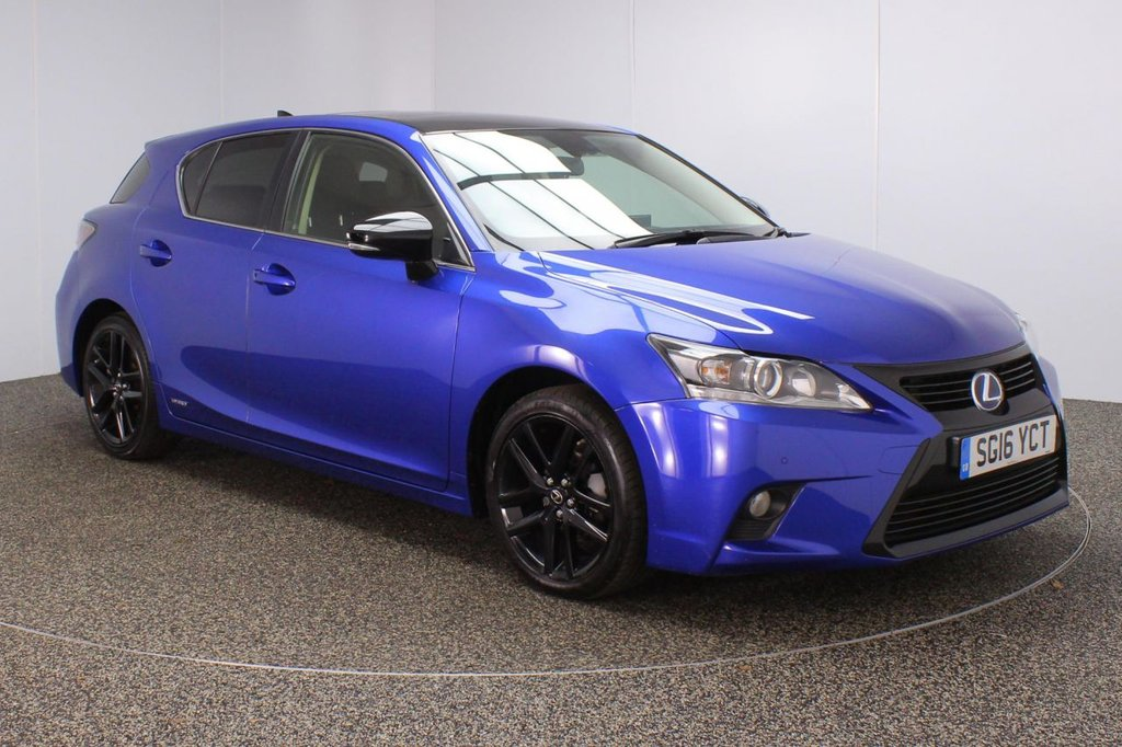 USED 2016 16 LEXUS CT 1.8 200H SPORT 5DR 1 OWNER AUTO 134 BHP FULL SERVICE HISTORY + FREE 12 MONTHS ROAD TAX + HEATED HALF LEATHER SEATS + ELECTRIC SUNROOF + SATELLITE NAVIGATION + PARKING SENSOR + BLUETOOTH + CRUISE CONTROL + CLIMATE CONTROL + MULTI FUNCTION WHEEL + XENON HEADLIGHTS + PRIVACY GLASS + DAB RADIO + AUX/USB PORTS + ELECTRIC WINDOWS + ELECTRIC/HEATED/FOLDING DOOR MIRRORS + 17 INCH ALLOY WHEELS