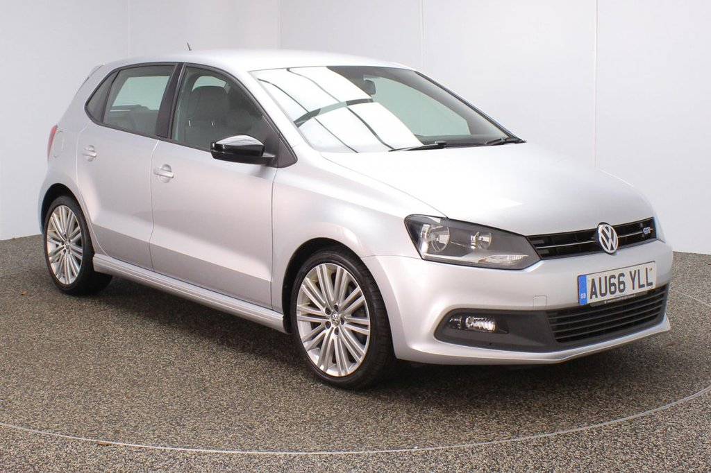 USED 2016 66 VOLKSWAGEN POLO 1.4 BLUEGT 5DR 148 BHP FULL SERVICE HISTORY + £20 12 MONTHS ROAD TAX + HALF LEATHER SEATS + BLUETOOTH + CRUISE CONTROL + MULTI FUNCTION WHEEL + AIR CONDITIONING + DAB RADIO + AUX/USB/SD PORTS + ELECTRIC WINDOWS + ELECTRIC/HEATED DOOR MIRRORS + 17 INCH ALLOY WHEELS