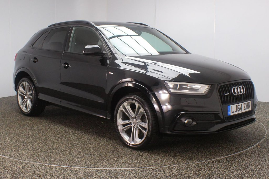 USED 2014 64 AUDI Q3 2.0 TFSI QUATTRO S LINE PLUS 5DR AUTO 211 BHP FULL AUDI SERVICE HISTORY + HEATED HALF LEATHER SEATS + SATELLITE NAVIGATION + REVERSING CAMERA + PARKING SENSOR + BLUETOOTH + CRUISE CONTROL + CLIMATE CONTROL + MULTI FUNCTION WHEEL + XENON HEADLIGHTS + PRIVACY GLASS + DAB RADIO + ELECTRIC WINDOWS + ELECTRIC/HEATED/FOLDING DOOR MIRRORS + 19 INCH ALLOY WHEELS
