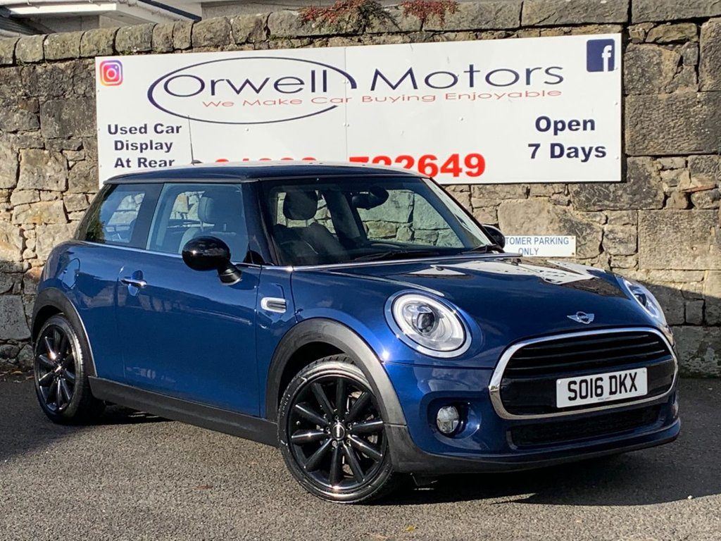 USED 2016 16 MINI HATCH COOPER 1.5 COOPER D 3d 114 BHP 2 OWNERS+LOW RATE FINANCE AVAILABLE+CRUISE CONTROL+HALF LEATHER+17 INCH COSMOS ALLOYS+ MINI SERVICE HISTORY