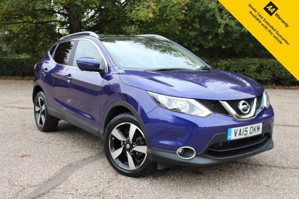 USED 2015 15 NISSAN QASHQAI 1.2 N-TEC PLUS DIG-T 5d 113 BHP ** FULL SERVICE HISTORY ** ADVISORY FREE MOT ** SAT NAV ** 360 PARKING CAMERAS ** FRONT + REAR PARKING AID ** PANORAMIC GLASS ROOF ** CRUISE CONTROL ** CLIMATE CONTROL ** BLUETOOTH ** LANE ASSIST ** AUTO LIGHTS + WIPERS ** ULEZ CHARGE EXEMPT ** £0 DEPOSIT LOW % RATE FINANCE AVAILABLE **