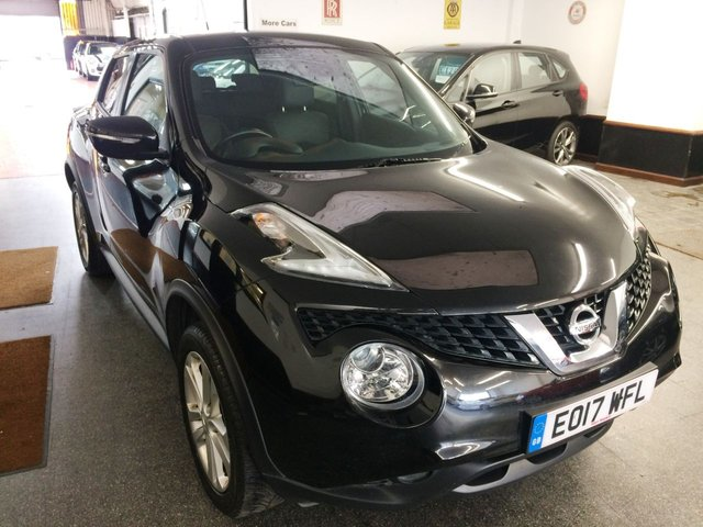 """USED 2017 17 NISSAN JUKE 1.5 N-CONNECTA DCI 5d 110 BHP Last of the £20 Tax ones!! This Juke is finished in Black with full Black leather & Suede seats. It is fitted with power steering, remote locking, electric windows, mirrors with power fold, climate control, cruise control, reverse camera, auto lights & wipers, LED Day lights, start/stop, Nissan Sat Nav, Bluetooth, tinted rear windows, 17"""" Alloy wheels, DAB CD Stereo with Aux & USB ports and more.  It has had two private owners from new. It comes with a full Glyn Hopkin Nissan service history."""
