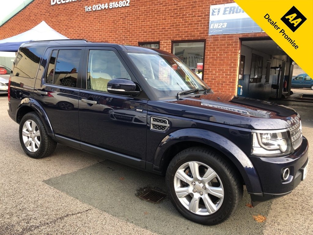 USED 2014 14 LAND ROVER DISCOVERY 3.0 SDV6 XS 5d 255 BHP Family 7-Seater : Bluetooth : Sat Nav : DAB Radio : Full leather upholstery : Electric/Heated front seats : Heated screen : Meridian sound system : LandRover Terrain Response system : Front + rear parking sensors