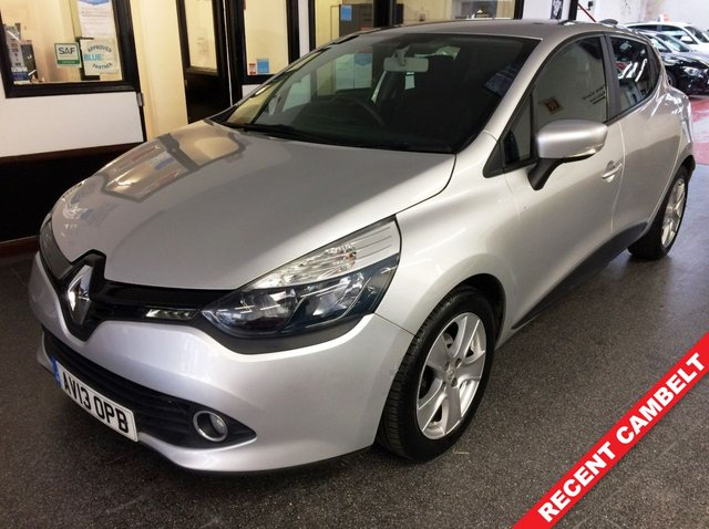 """USED 2013 13 RENAULT CLIO 1.1 EXPRESSION PLUS 16V 5d 75 BHP This Clio Expression + is finished in platinum silver with Black/red cloth seats. It is fitted with power steering, air conditioning, Bluetooth, cruise control/limiter, remote locking, electric windows, remote mirrors, isofix, LED daylights, CD Stereo 16"""" alloys and more. It has had two private owners from new. It comes with a full service history consisting of stamps and invoices including a recent cambelt & water pump change at 45329 miles. The advisory free Mot runs till September 2021."""