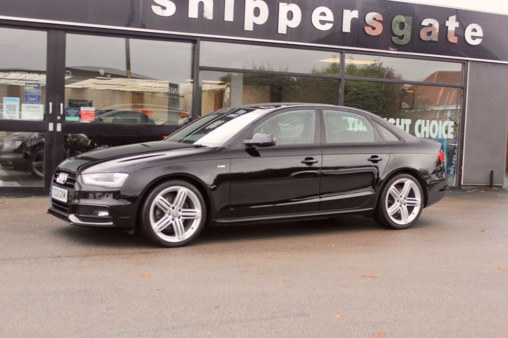 """USED 2013 13 AUDI A4 2.0 TDI BLACK EDITION 4d 141 BHP Black Audi A4 Black Edition, , 19"""" Alloys, B&O Music System, DAD Radio, Automatic headlights,  Auto Dimming Mirrors, Thatcham category 1 alarm + immobiliser, Xenon Headlights, Bluetooth Phone, Electric Mirrors and Windows, Remote Central Locking, 2 Keys Full Audi Service History - Just Serviced."""