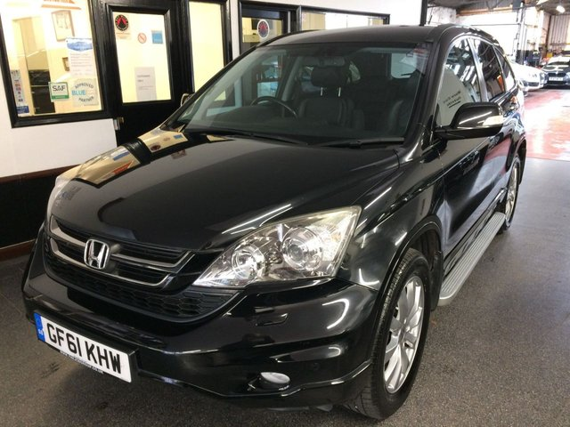 USED 2011 61 HONDA CR-V 2.2 I-DTEC EX 5d 148 BHP Only 57900 miles and Fitted with opening glass panoramic roof, rear camera, this diesel auto CR-V EX is finished in Black with Black leather heated seats, along with Honda satellite navigation, power steering, remote locking, electric windows and mirrors with power fold, dual zone climate control, cruise control, Bluetooth, side steps, alloy wheels, CD Stereo and more. It has had only two owners from new and been in the last ladies possession since 2016. It comes with a complete service history.