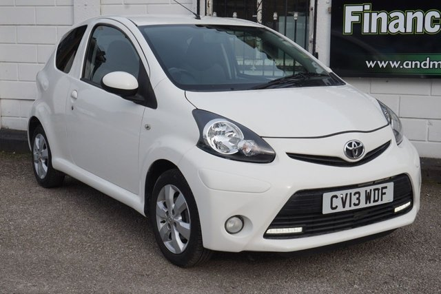 "USED 2013 13 TOYOTA AYGO 1.0 VVT-I FIRE 3d 67 BHP 3 Service Stamps, Only 23332, 14"" Alloy Wheels, Privacy Glass"