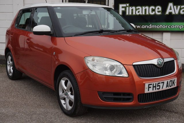 USED 2007 57 SKODA FABIA 1.2 LEVEL 2 HTP 5d 68 BHP 1 Owner, 8 Service Stamps, Tangerine with White Roof