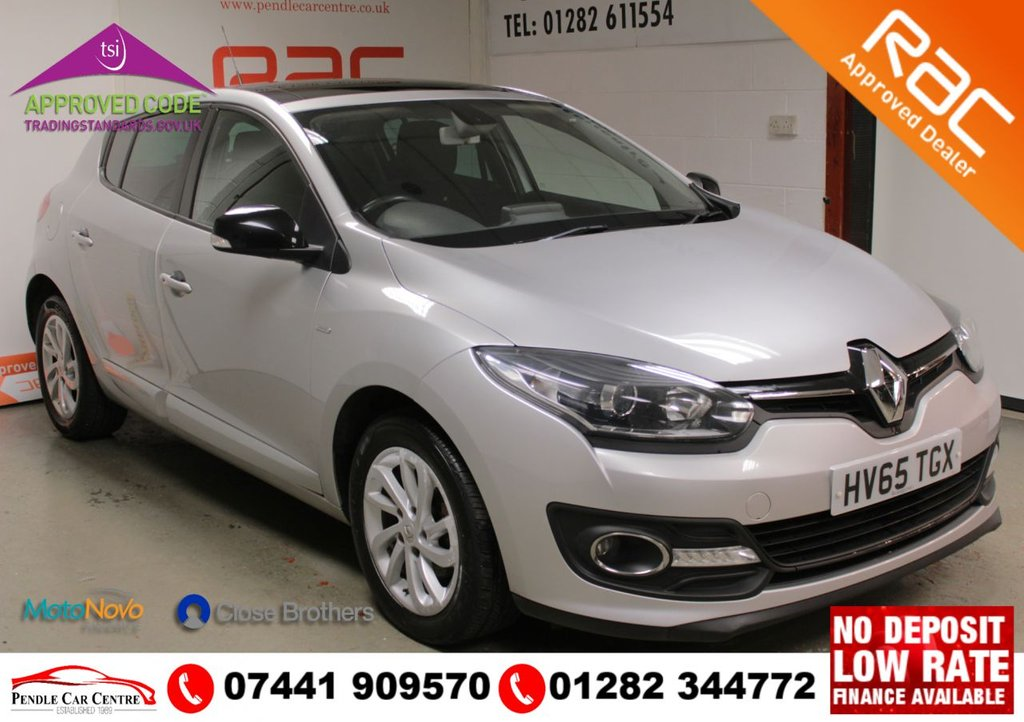 "USED 2015 65 RENAULT MEGANE 1.5 LIMITED NAV DCI 5d 110 BHP RAC PLATINUM WARRANTY INCLUDED + TIMING BELT REPLACED @ 70K **Key Spec** Satelite Navigation + Electric Sunroof With Blinds + Electric Windows + Electric Folding Mirrors + 16"" Alloys  + USB & AUX Ports + Rear Outer Seat Isofix Points Bluetooth"