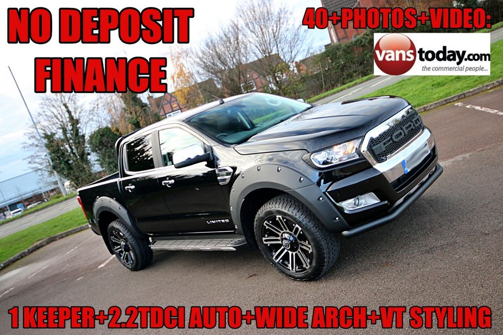 USED 2018 68 FORD RANGER 2.2 LIMITED 4X4 DCB TDCI 4d 158 BHP AUTO +  NO DEPOSIT FINANCE + 1 KEEPER + AUTO + FORD WARRANTY