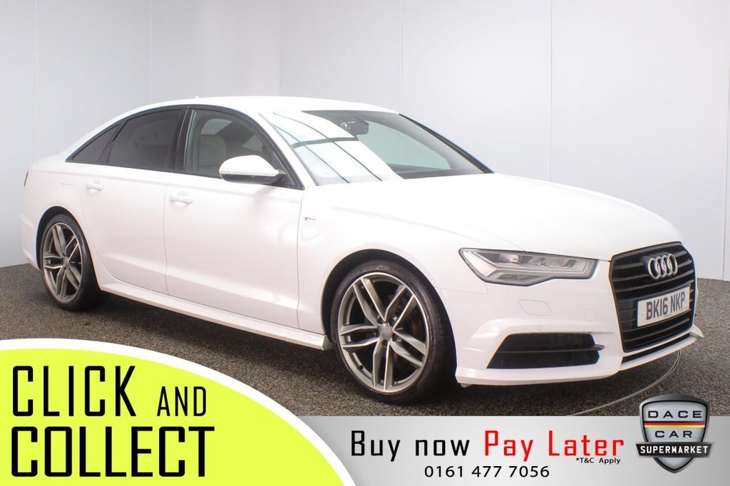 USED 2016 16 AUDI A6 2.0 TDI ULTRA BLACK EDITION 4DR 188 BHP FULL SERVICE HISTORY + £30 12 MONTHS ROAD TAX + HEATED LEATHER SEATS + BOSE PREMIUM SPEAKERS + PARKING SENSOR + BLUETOOTH + CRUISE CONTROL + CLIMATE CONTROL + MULTI FUNCTION WHEEL + DAB RADIO + PRIVACY GLASS + ELECTRIC WINDOWS + ELECTRIC/HEATED/FOLDING DOOR MIRRORS + 20 INCH ALLOY WHEELS