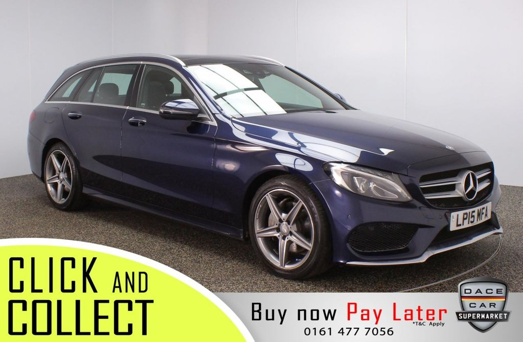 USED 2015 15 MERCEDES-BENZ C-CLASS 2.1 C220 D AMG LINE PREMIUM 5DR 170 BHP FULL MERCEDES SERVICE HISTORY + £30 12 MONTHS ROAD TAX + HEATED LEATHER SEATS + SATELLITE NAVIGATION + PANORAMIC ROOF + REVERSING CAMERA + PARKING SENSOR + BLUETOOTH + CRUISE CONTROL + CLIMATE CONTROL + MULTI FUNCTION WHEEL + LED HEADLIGHTS + ELECTRIC/MEMORY FRONT SEATS + ELECTRIC WINDOWS + ELECTRIC/HEATED/FOLDING DOOR MIRRORS + 18 INCH ALLOY WHEELS