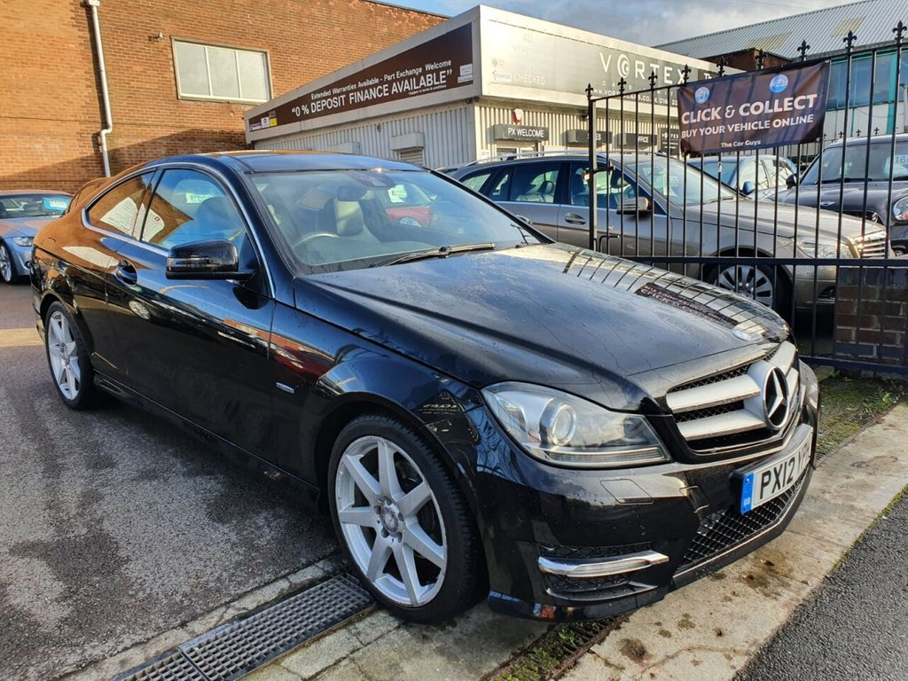 USED 2012 12 MERCEDES-BENZ C-CLASS 1.8 C180 BLUEEFFICIENCY AMG SPORT 2d 156 BHP PAN ROOF + SAT NAV + LEATHER
