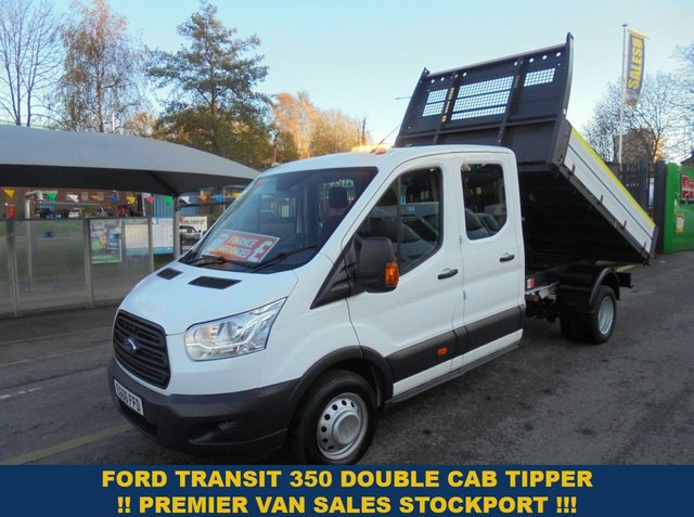 USED 2017 66 FORD TRANSIT 350 LWB 2.2 TURBO DIESEL 350 ONE STOP CREW CAB TIPPER 2017 YEAR  TWIN REAR WHEELS  FULL HISTORY  EURO 6 MODEL  CREW CAB TIPPER 2017 YEAR