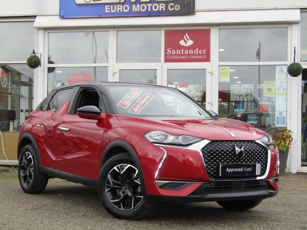 USED 2019 69 DS DS 3 CROSSBACK 1.2 PURETECH PRESTIGE S/S EAT8 5d 129 BHP Finished in RUBY RED METALLIC with contrasting Full EBONY LEATHER trim. This DS3 will certainly turn heads and has a very impressive interior. Ideal as a mid sized family SUV. Features include, Sat Nav, Park Sensors, Full Leather, DAB Radio, LED day Lights, Alloy Wheels and much more. Sill under DS Warranty for that extra peace of mind.
