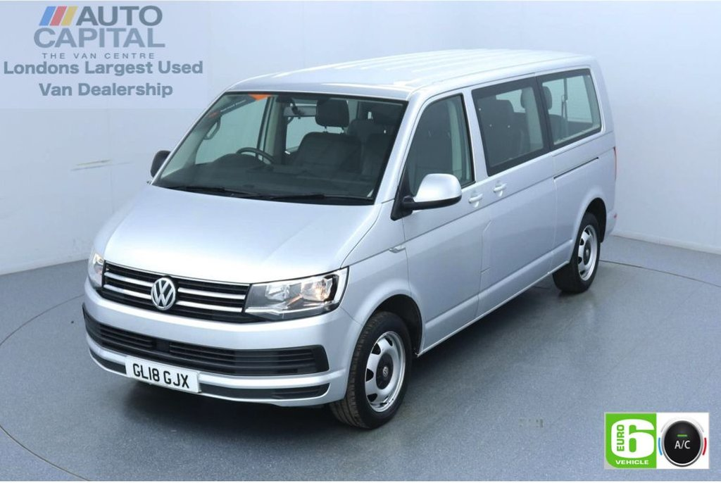 USED 2018 18 VOLKSWAGEN TRANSPORTER SHUTTLE 2.0 148 BHP Auto LWB 9 Leatherette Seats Euro 6 Low Emission Finance Packages Available | Auto | Air Con | Touchscreen