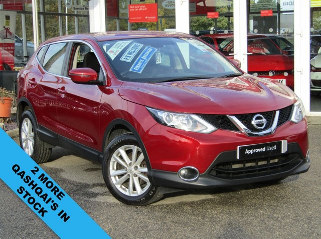 USED 2016 16 NISSAN QASHQAI 1.2 ACENTA DIG-T 5d 113 BHP Finished in MAGNETIC RED METALLIC with contrasting DARK GREY SEATS. The Qashqai is one of the best selling SUV's around at the moment. This facelifted edition is comfy, easy to drive and has enough space for 5 adults. Features include, Power Folding Door mirrors, Cruise Control, Low Miles, B/Tooth, Alloys, Front Fogs and much more. Bristol Street Nissan Dealer Serviced at 12362 miles, 21987 miles, 34932 miles and at 45800 miles on 12/10/2020.