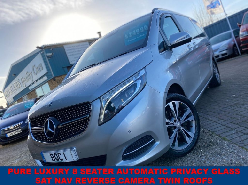 USED 2017 17 MERCEDES-BENZ V-CLASS 2.1 V220 D SPORT L 8 Seater Brilliant Silver Black Leather 161 BHP Pure Luxury 8 seater Automatic with Privacy Glass SAT NAV Reverse Camera Twin Roofs