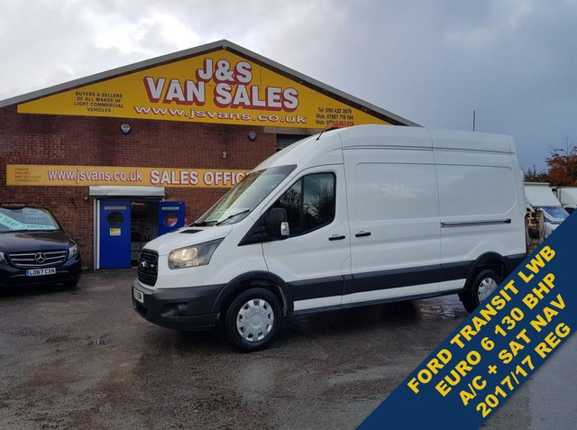 USED 2017 17 FORD TRANSIT T350 130 BHP L.W.B HITOP E/6 SAT NAV & A/C  #### LOTS MORE EURO 6 LOW CO2 VANS ON SITE ALL MODELS ###