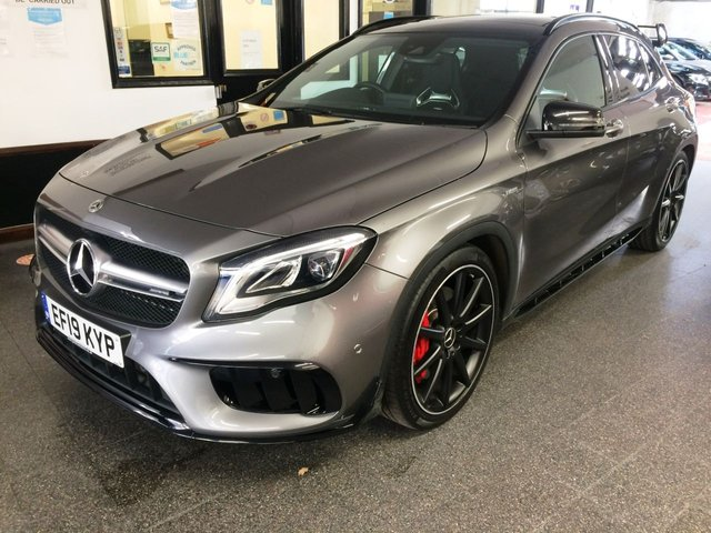 USED 2019 19 MERCEDES-BENZ GLA-CLASS 2.0 GLA45 AMG 4MATIC 5d 360 BHP This GLA45 AMG 4Matic is finished in Metallic Mountain Grey with Lava Black leather seats. It is fitted with a huge specification, please see pictures for copy of full spec. Cost options were Comand Online, AMG aero pack, Exclusive pack, AMG Night Pack, AMG Performance exhaust system and premium pack. It includes the balance of Mercedes warranty.   It has been owned by Mercedes (3.5 months) and one private lady from new and comes with a Mercedes service history, done once in July 2020.