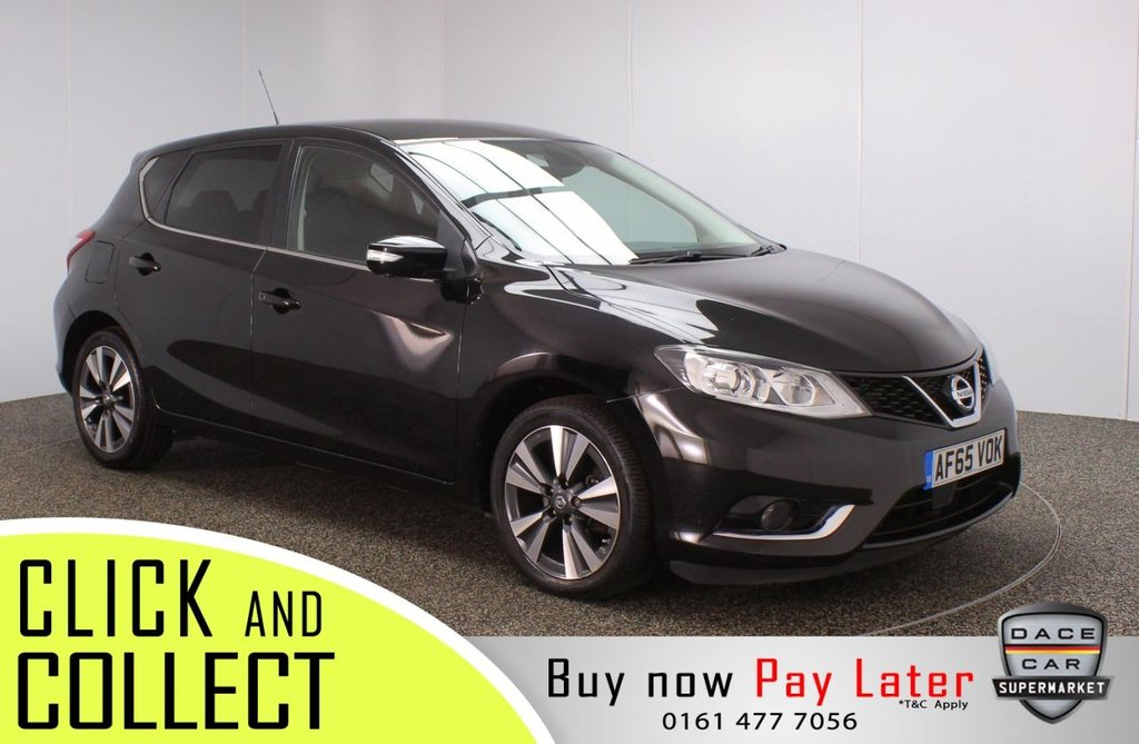 USED 2015 65 NISSAN PULSAR 1.2 TEKNA DIG-T 5DR 1 OWNER 115 BHP FULL SERVICE HISTORY + £30 12 MONTHS ROAD TAX + HEATED LEATHER SEATS + SATELLITE NAVIGATION + AROUND VIEW MONITOR + LANE ASSIST SYSTEM + BLIND SPOT MONITOR + LED HEADLIGHTS + BLUETOOTH + CRUISE CONTROL + CLIMATE CONTROL + MULTI FUNCTION WHEEL + DAB RADIO + PRIVACY GLASS + ELECTRIC WINDOWS + ELECTRIC/HEATED/FOLDING DOOR MIRRORS + 17 INCH ALLOY WHEELS