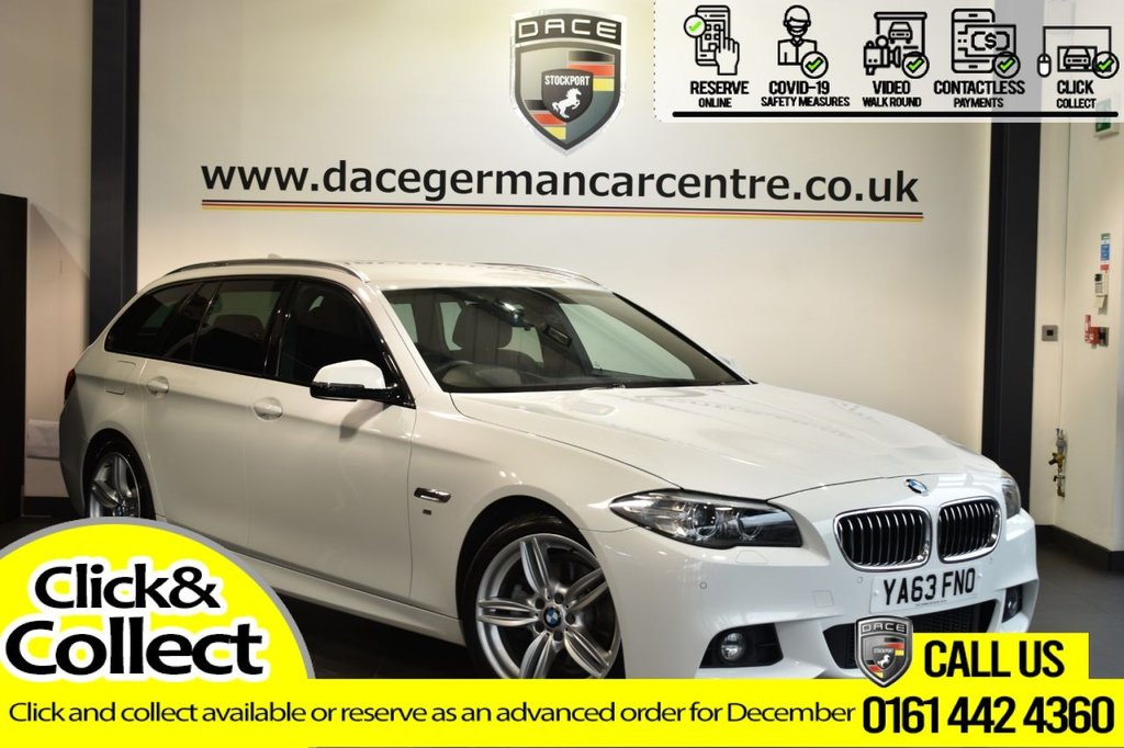 USED 2014 63 BMW 5 SERIES 2.0 520D M SPORT TOURING 5DR AUTO 181 BHP LEATHER + FULL HISTORY + NAV + HEAD-UP + HARMAN/KARDON