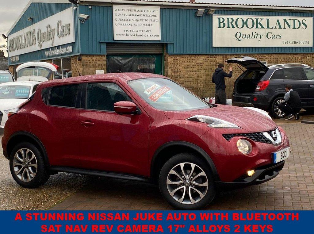 "USED 2018 67 NISSAN JUKE 1.6 TEKNA XTRONIC Magnetic Red-Black Leather ONLY 23623 miles FSH 117 BHP A Stunning Nissan Juke AUTO With Bluetooth SAT NAV Rev Camera 17"" Alloys 2 keys"