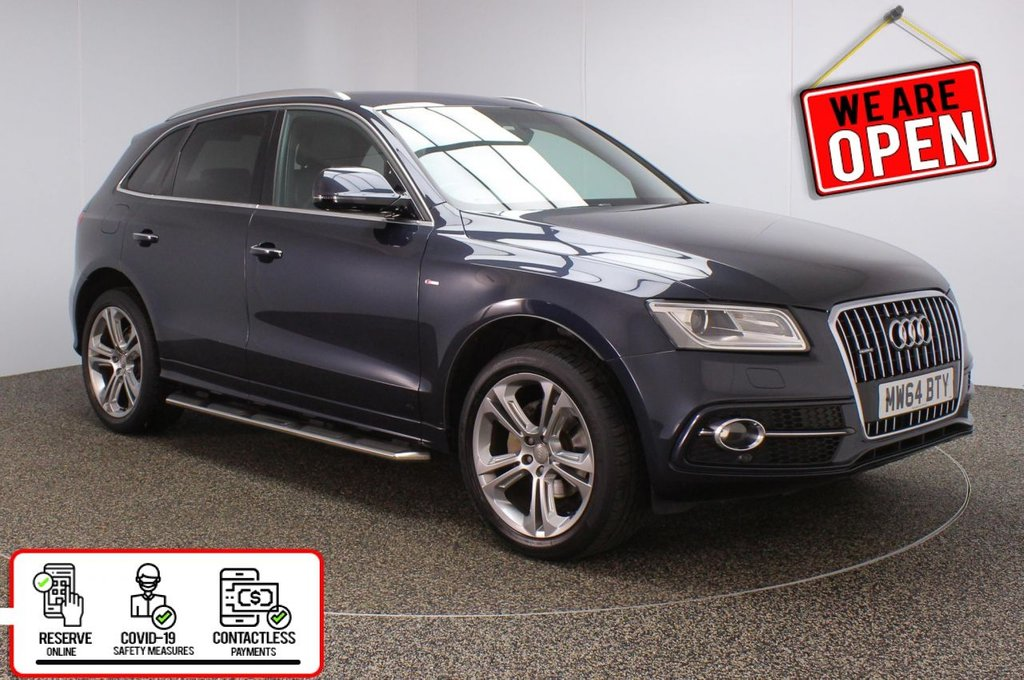 USED 2014 64 AUDI Q5 2.0 TDI QUATTRO S LINE PLUS 5DR 1 OWNER AUTO 175 BHP AUDI SERVICE HISTORY + HEATED LEATHER SEATS + SATELLITE NAVIGATION + PARKING SENSOR + BLUETOOTH + CRUISE CONTROL + CLIMATE CONTROL + MULTI FUNCTION WHEEL + PRIVACY GLASS + XENON HEADLIGHTS + DAB RADIO + SIDE STEPS + ELECTRIC WINDOWS + ELECTRIC/HEATED/FOLDING DOOR MIRRORS + 20 INCH ALLOY WHEELS