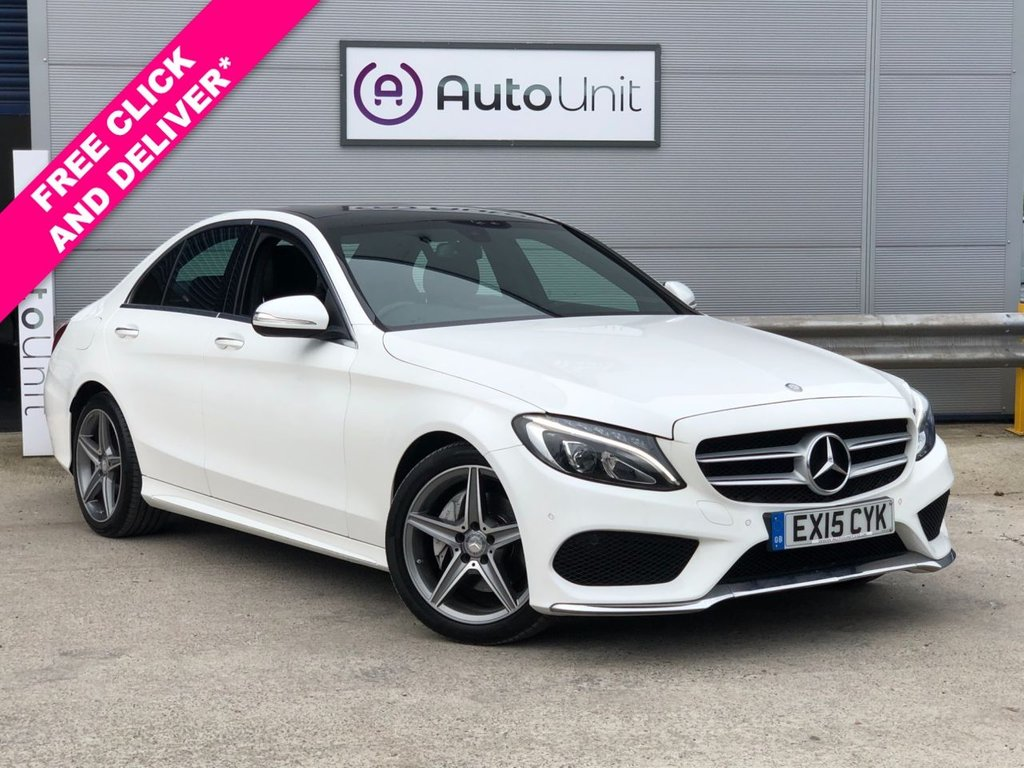 USED 2015 15 MERCEDES-BENZ C-CLASS 2.0 C200 AMG LINE PREMIUM 4d 184 BHP FULL HISTORY + PAN ROOF + NAV + PARKING CAM + HEATED LEATHER + UPGRADED SOUND SYSTEM