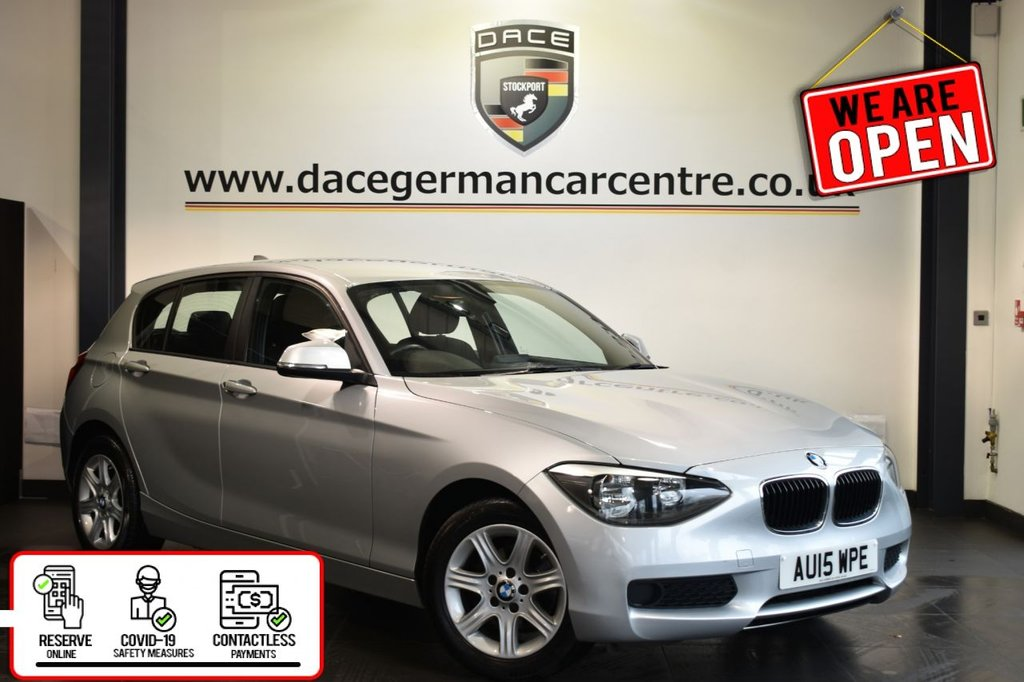 USED 2015 15 BMW 1 SERIES 1.6 114D ES 5DR 94 BHP Finished in a stunnning glacier metallic silver is this BMW 1 series 114D. Upon entry you are presented with full service history, anthracite upholstery, DAB radio , UAX/USB media, BMW professional radio, electric door mirrors.