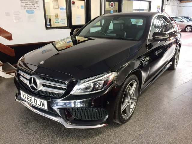 USED 2016 66 MERCEDES-BENZ C-CLASS 2.1 C220 D AMG LINE 4d 170 BHP Will be supplied with 2 new tyres, this new shape £30 per year tax, one previous owner, (a company) C220 Bluetec AMG Line is finished in Metallic Obsidian Black with Black leather heated leather seats. It is fitted with driver assistance pack, remote locking, electric windows, mirrors with power fold and part drivers seat, climate control, Distronic cruise control, front and rear parking sensors, reverse camera with guidance lines and active parking assist and more.