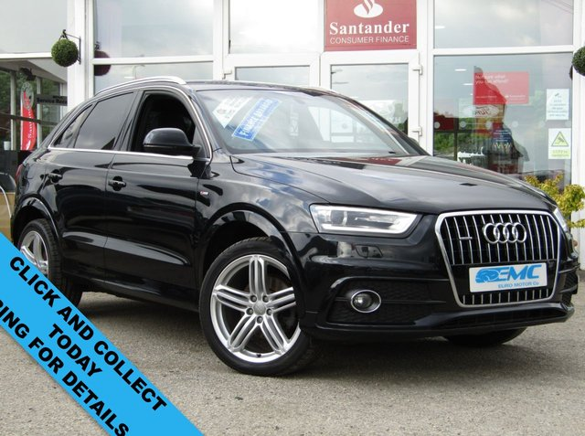 USED 2013 63 AUDI Q3 2.0 TFSI QUATTRO S LINE 5d 208 BHP Finished in PHANTOM BLACK PEARL with FULL HEATED LEATHER SEATS. This Audi Q3 is a upmarket, premium, compact SUV. It offers plenty of space, Great fun to drive and lots of high tech features. All at a very affordable price. Specification includes, Park Sensors, Reversing Camera, Blue Tooth, LED Run Lights, Keyless Start, Cruise and SAT NAV. Aberdeen Audi Dealer Serviced at 13307 miles, 18963 miles, 24790 miles, 26928 miles (inc Haldex oil change), 37115 miles, 46962 miles and at 52034 miles.