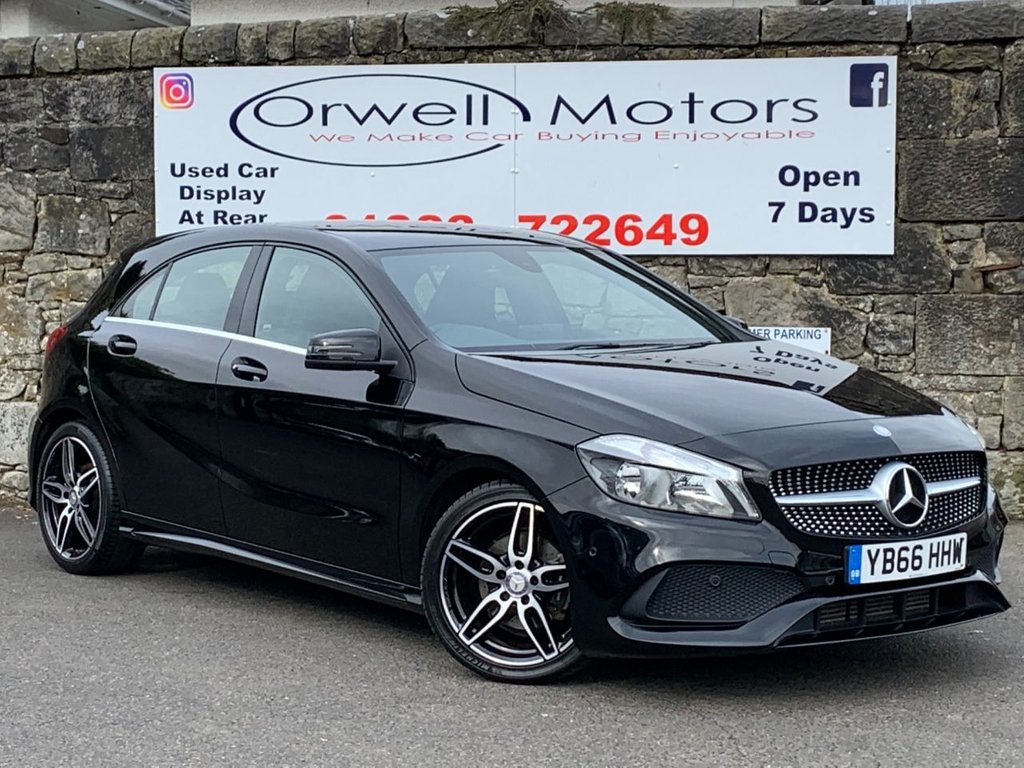 USED 2017 66 MERCEDES-BENZ A-CLASS 1.5 A 180 D AMG LINE EXECUTIVE 5d 107 BHP FULL MERCEDES SERVICE HISTORY+SATELLITE NAVIGATION+CRUISE CONTROL+FINANCE AVAILABLE+FULL LEATHER