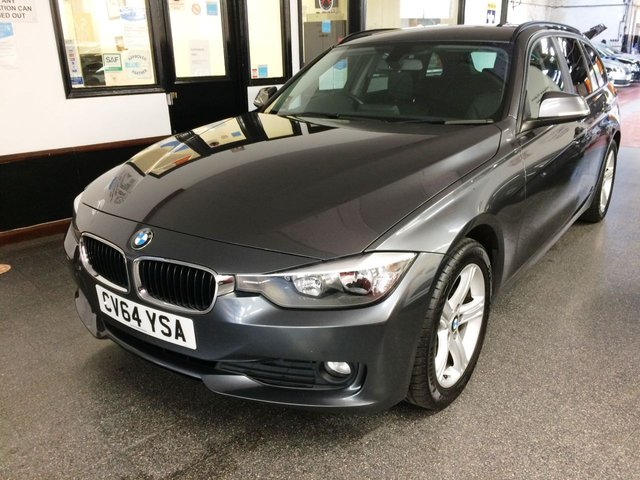 """USED 2014 64 BMW 3 SERIES 2.0 320D SE TOURING 5d 181 BHP This 320D Touring is finished in Metallic Mineral grey with black Dakota heated Leather seats. It is fitted with electric tailgate, remote locking, electric windows and mirrors roof rails, dual zone climate control, cruise control, front/ rear parking sensors, privacy glass,  Bluetooth, heated front seats, auto headlights, 17""""  5 spoke alloy wheels, DAB CD Stereo with USB & Aux port and more. It comes with a full BMW service history, visits done at 8084/26793/35183/40551/46165 miles."""