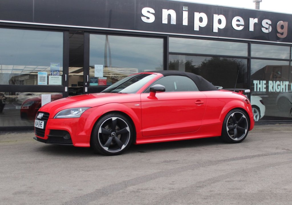 USED 2014 14 AUDI TT 2.0 TDI QUATTRO BLACK EDITION 2d 168 BHP Misano Red Pearl Effect, Amplified Black Pack, Technology Pack, Comfort Pack, Heated Seats, Navigation DVD, Acoustic Parking System, Cruise Control, Bluetooth Telephone Preparation, Audi Music Interface (AMI), Electric Folding Mirrors, Auto Dimming Rear View Mirror, Black styling Package, Xenon Plus Headlights, Headlight Washer System, Automatic Headlight Adjustment, Leather Package, Extended Aluminium Look Interior, Interior Light Package, 3 Spoke Multi-Function Flat-bottomed Steering Wheel.