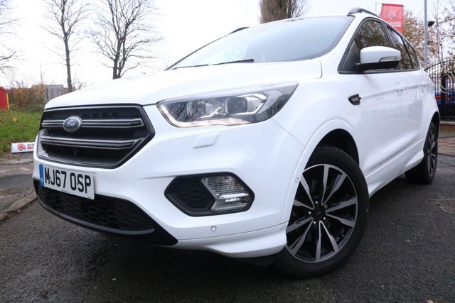 """USED 2017 67 FORD KUGA 2.0 ST-LINE TDCI 5d 148 BHP 2 KEYS+PRIVACY GLASS+CLIMATE+PARKING SENSORS+1 OWNER+18""""ALLOYS+NAVIGATION SYSTEM+HALF LEATHER TRIM+BLUETOOTH+USB+AUX+DAB+"""