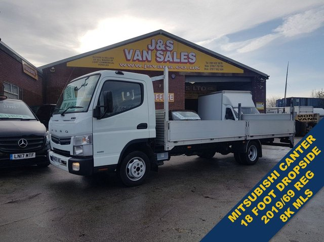 USED 2019 69 MITSUBISHI FUSO CANTER 3.0 3C130 EXTRA JUMBO L.W.B DROPSIDE/TAILIFT 9K MLS ###### BIG STOCK EURO 6 OVER VANS OVER 100 ON SITE #######